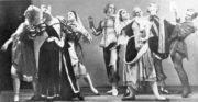 Cross-Garter'd (Tudor, 1931): Elisabeth Schooling, Maude Lloyd, Betty Cuff, Rollo Gamble, Prudence Hyman, Walter Gore, Antony Tudor, William Chappell. Photo © Pollard Crowther. RDC/PD/01/50/1