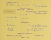Detail of the divertissements in the Mercury Theatre programme for 16 January 1938. RDC/MA/04/01/0047