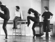 Frames, Pulses and Interruptions (Flier, 1977): composer Harrison Birtwistle (second from left) and choreographer Jaap Flier (right) watch a rehearsal, 1977. Photo © Alan Cunliffe. RDC/PD/01/241/1