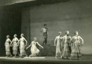 L'Après-midi d'un faune (Nijinsky, 1912/1931): (centre) Sara Luzita as The Nymph and Frank Staff as The Faune, 1947. Photo © Peggy Delius. RDC/PD/01/42/04