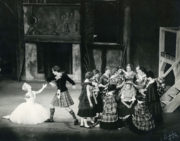 La Sylphide: Elsa Marianne von Rosen as the Sylph (left), Flemming Flindt as James (centre) and Shirley Dixon as Effie (right) in Act I, 1960. Photo © R. Wilsher. RDC/PD/01/177/2