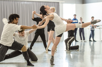 Miguel Altunaga, Daniel Davidson and Brenda Lee Grech in rehearsal for The 3 Dancers
